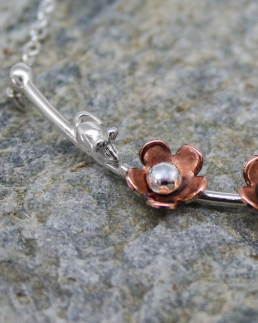 Handmade sterling silver and copper daisy necklace with mouse 1