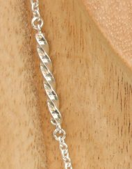 silver chain with twisted square wire sections