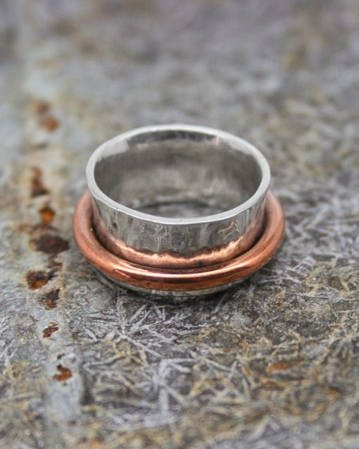 silver concave ring with copper band