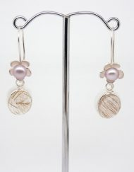 silver flower and pearl earrings with rutilated quartz drop