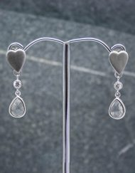 Heart and crystal drop earrings