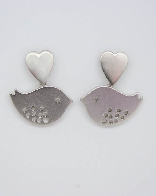 Heart and lovebird earrings 1
