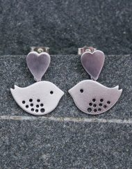Heart and lovebird earrings | Starboard Jewellery