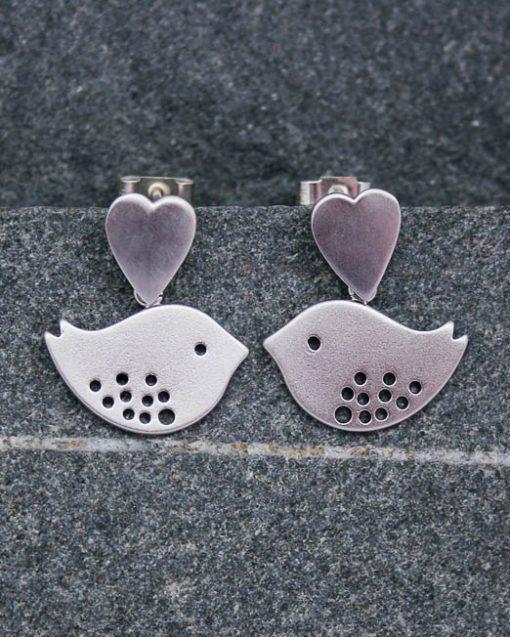 Heart and lovebird earrings | Starboard Jewellery
