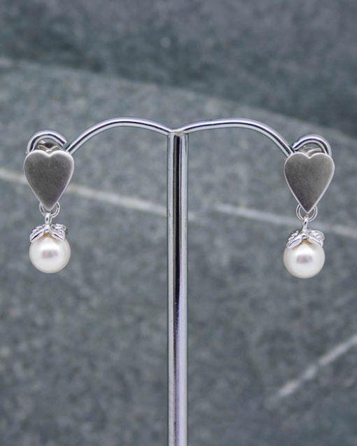 Heart and swarovski pearl earrings