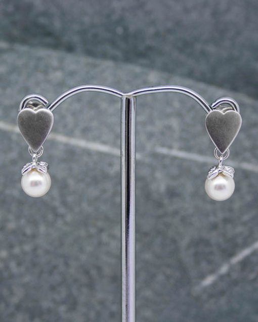 Heart and swarovski pearl earrings
