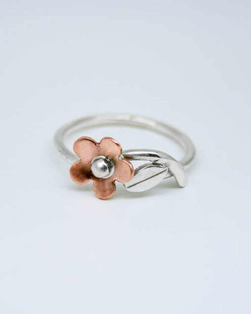 Silver and copper simple daisy ring