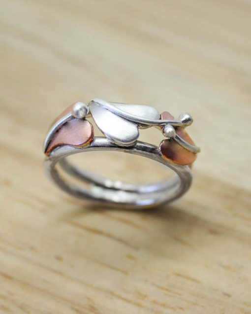 Sterling silver and copper three leaf ring 1