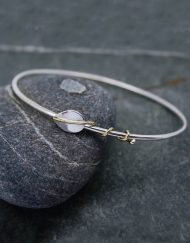 Silver bangle with silver leaf