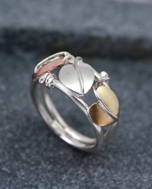 Sterling silver Art Nouveau mixed metal ring 1