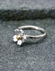 Silver-flower-ring-with-brass,-copper-or-silver-bead