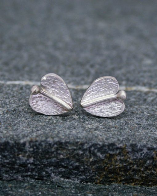 Small sterling silver leaf stud earrings 1