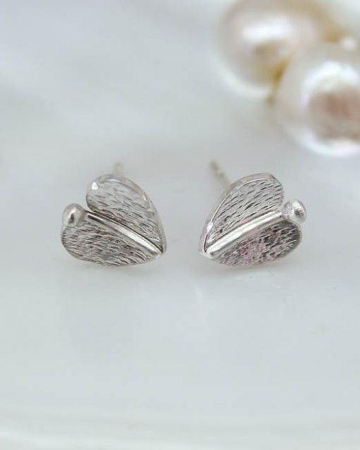 Silver leaf stud earrings | Starboard Jewellery