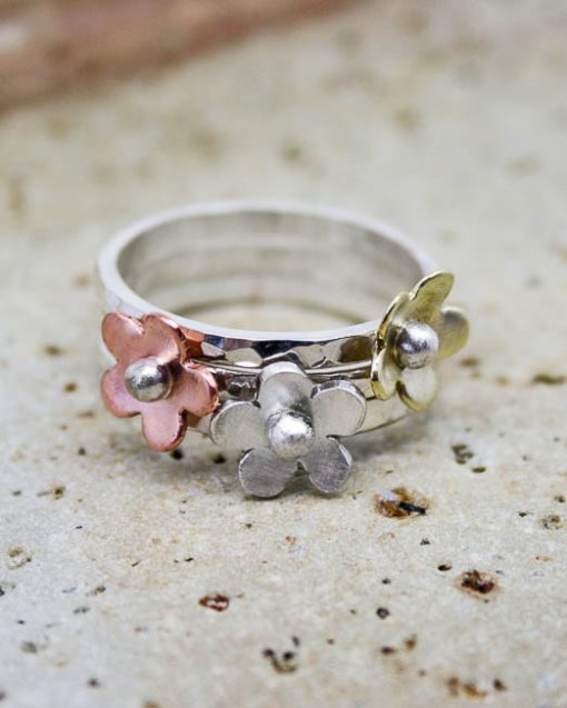 Silver stacking rings with copper, brass or silver flowers