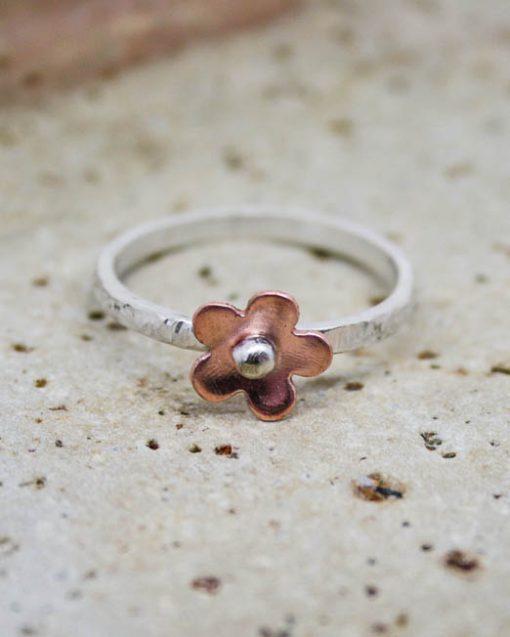 Sterling silver flower rings in mixed metal 1