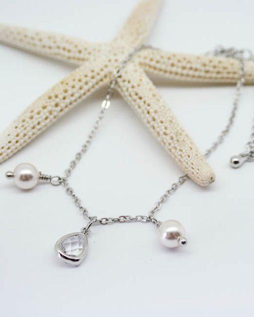 Crystal and swarovski pearl bracelet 1