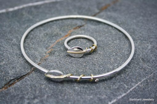 Sterling silver bangle with silver and brass leaf detail 1