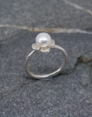 Handmade silver and pearl 4 petal flower ring