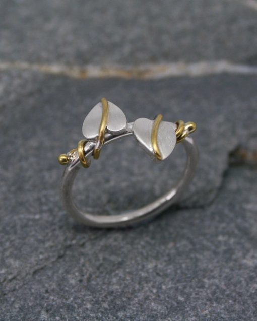Sterling silver two leaf ring with brass vinesvines 1