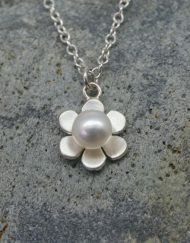 Silver and pearl flower necklace | Starboard Jewellery