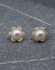 Silver and pearl daisy earrings   Starboard Jewellery