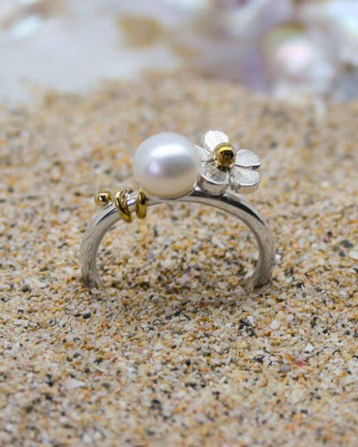 Handmade silver daisy and pearl ring mixed metal