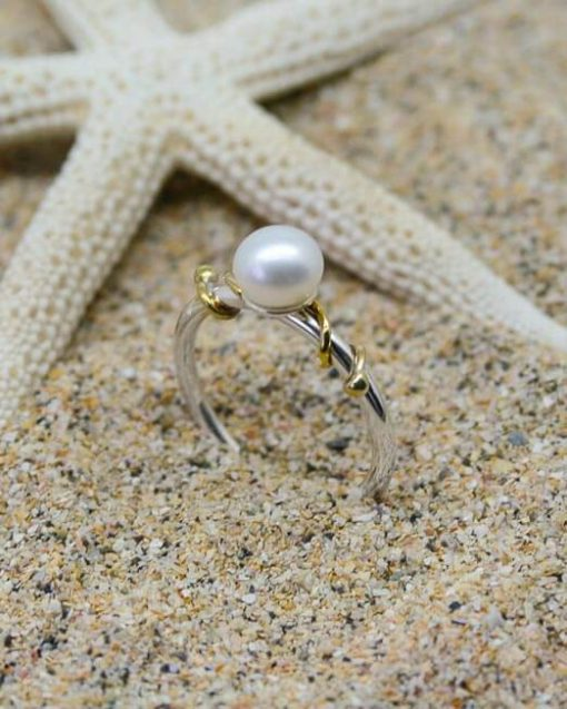 Pearl and silver ring with brass tendril mixed metal