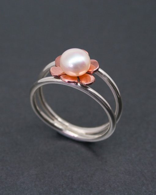 Sterling silver and copper flower and pearl ring 1