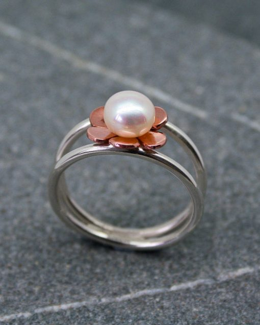 Sterling silver and copper flower and pearl ring 2