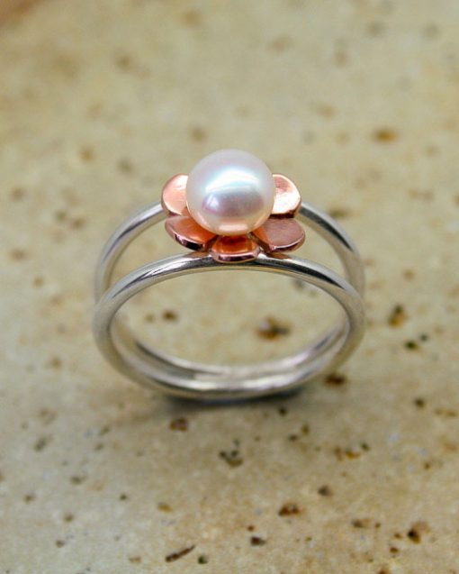 Sterling silver and copper flower and pearl ring 4