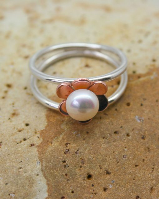 Sterling silver and copper flower and pearl ring 3