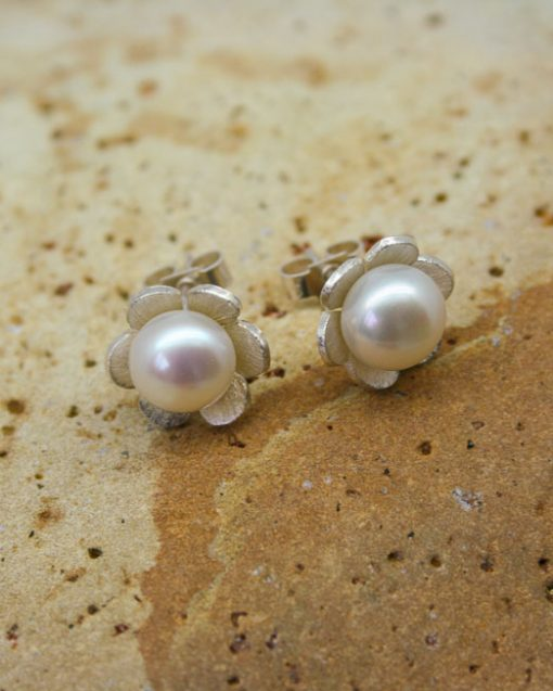 Silver and pearl daisy earrings | Starboard Jewellery