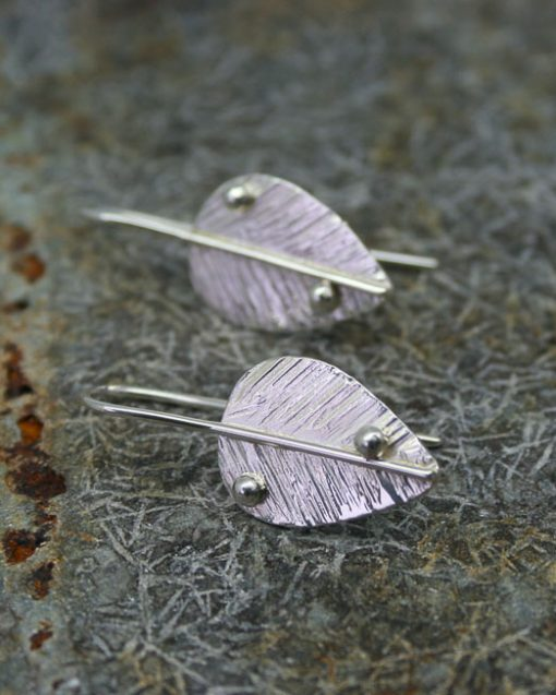 Handmade silver leaf earrings jewellery UK