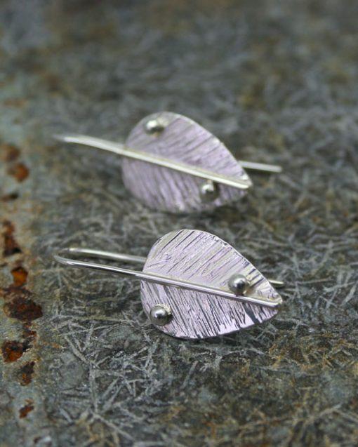 Handmade silver leaf earrings jewellery UK