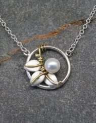 Silver and pearl three leaf Art Nouveau necklace