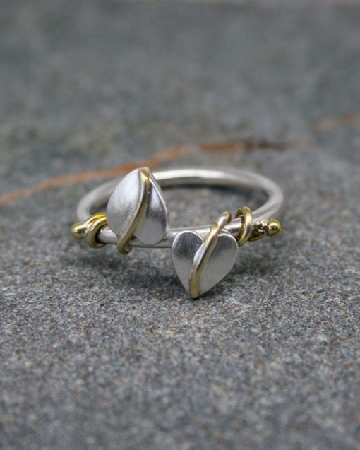 Sterling silver two leaf ring with brass vinesvines 2