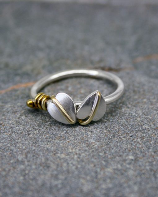 Sterling silver two leaf ring with brass tendrils 1