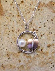 Silver, copper leaf and pearl Art Nouveau necklace