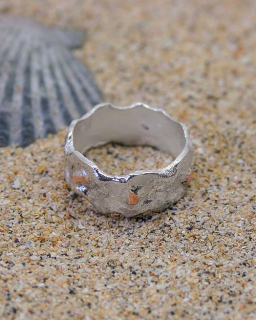 Wave and surf style silver and copper wedding band 4