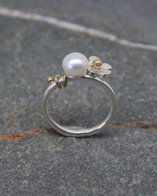 Handmade silver daisy and pearl ring mixed metal