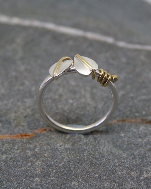 Sterling silver two leaf ring with brass tendrils 2