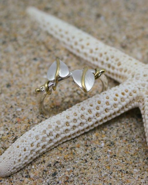 Sterling silver two leaf ring with brass vinesvines 3