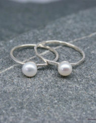 Silver and 5.5mm freshwater pearl rings