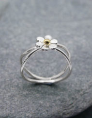 Sterling silver crossover flower ring