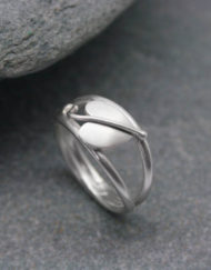 Sterling silver heart leaf ring on a double band