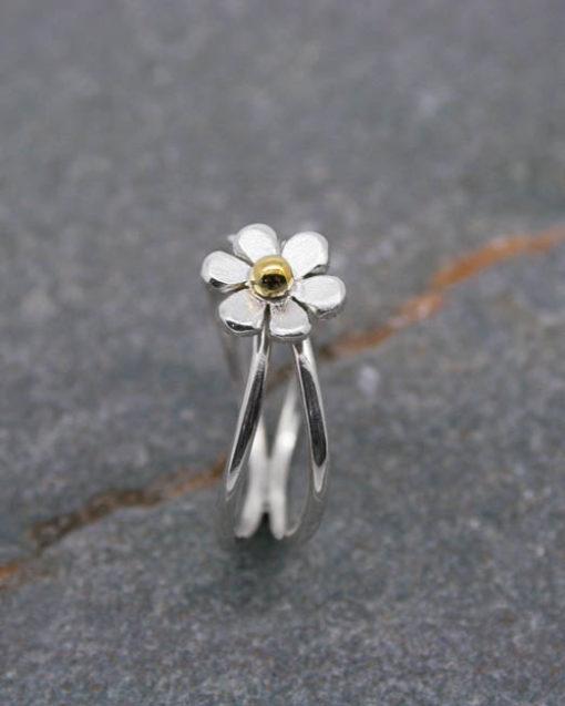 Sterling silver crossover flower ring
