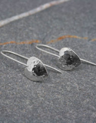 Sterling silver hammered heart drop earrings