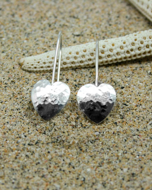 Sterling silver hammered heart drop earrings 1