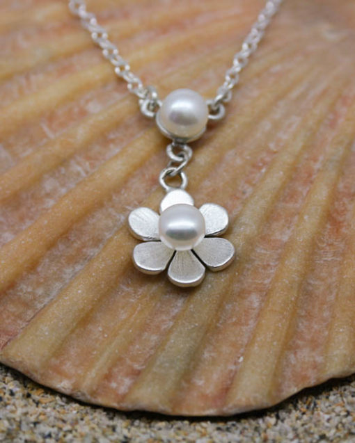 Sterling silver and pearl drop necklace with flower petals