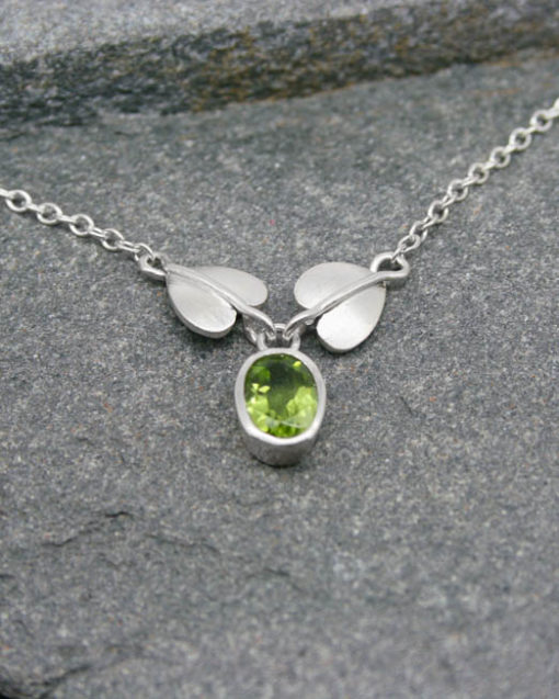 Sterling silver Art Nouveau style peridot necklace